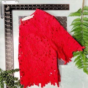 ASTR Coral Crochet Top